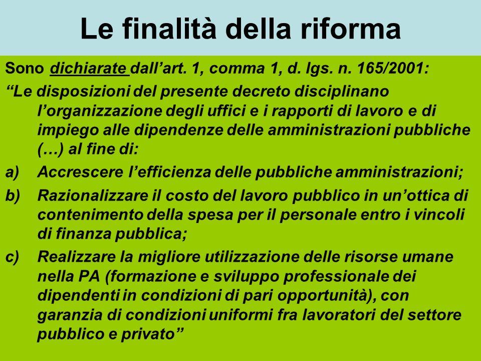 Le finalità della riforma Sono dichiarate dallart.