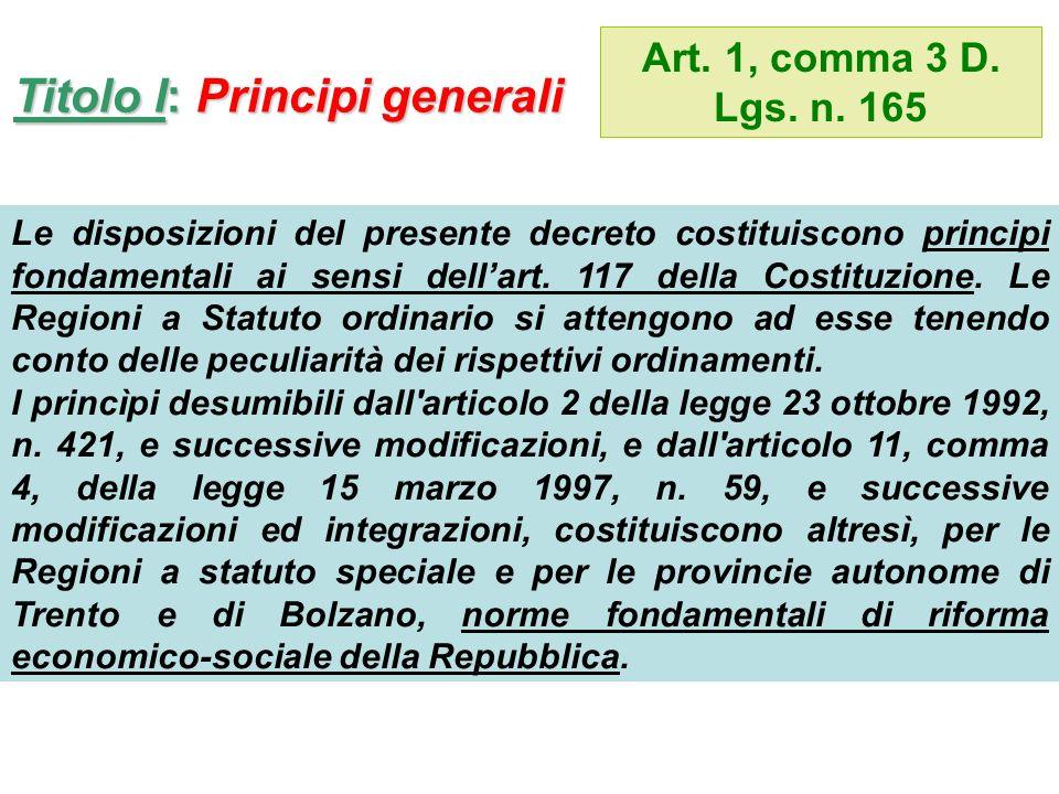 Titolo I: Principi generali Art. 1, comma 3 D. Lgs.
