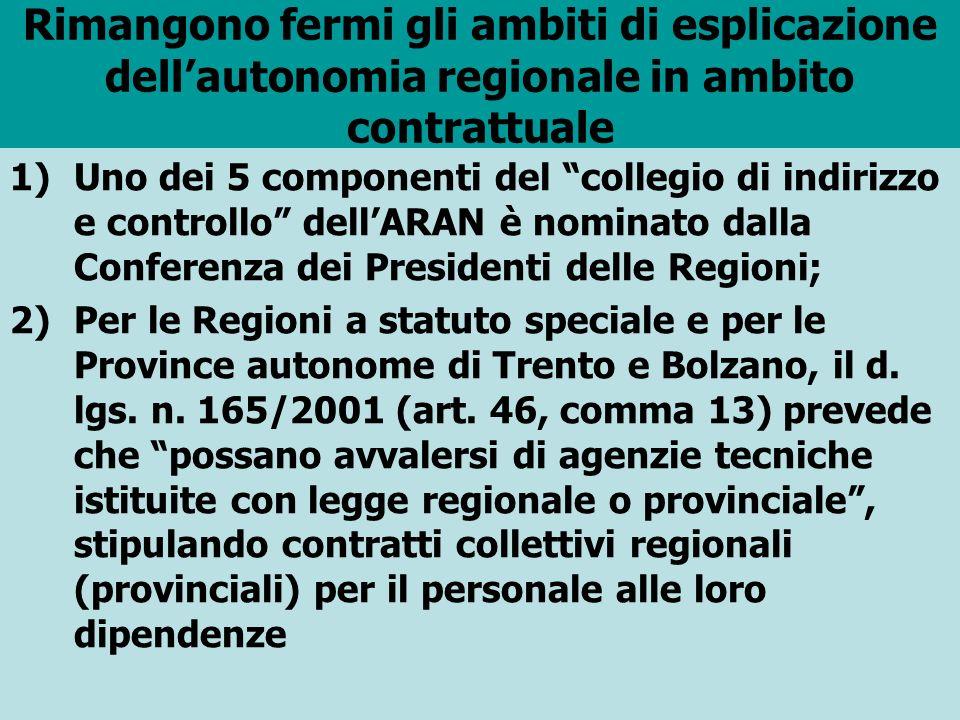 Rimangono fermi gli ambiti di esplicazione dellautonomia regionale in ambito contrattuale 1)Uno dei 5 componenti del collegio di indirizzo e controllo dellARAN è nominato dalla Conferenza dei Presidenti delle Regioni; 2)Per le Regioni a statuto speciale e per le Province autonome di Trento e Bolzano, il d.