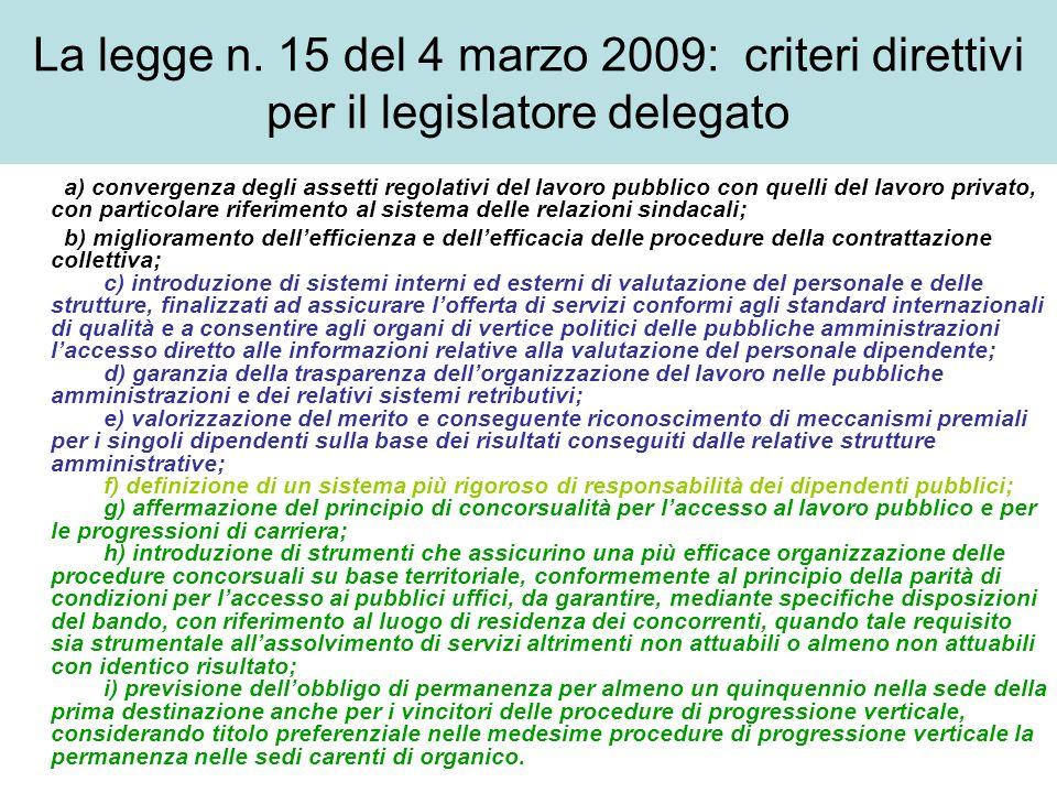 Le finalità del decreto legislativo c.d.Brunetta, approvato il 9 ottobre 2009 Art.