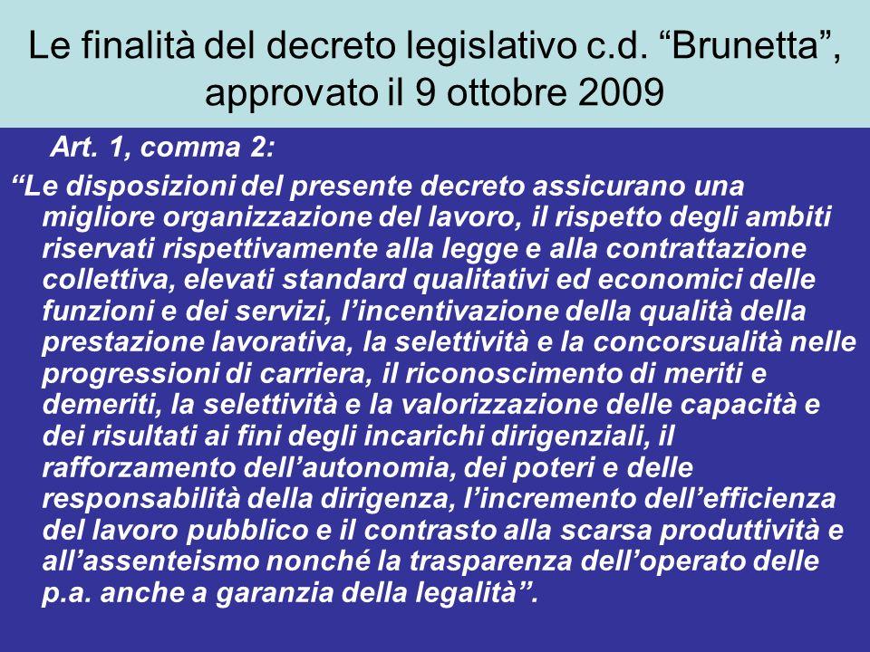 Le finalità del decreto legislativo c.d. Brunetta, approvato il 9 ottobre 2009 Art.