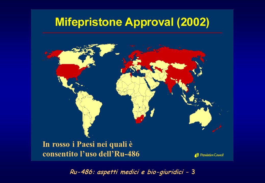 Ru-486: aspetti medici e bio-giuridici - 4 Si ritiene che il mifepristone sia stato utilizzato in Europa da oltre 600.000 donne e fonti non ufficiali indicano che in Cina vi abbiano fatto ricorso oltre 3.000.000
