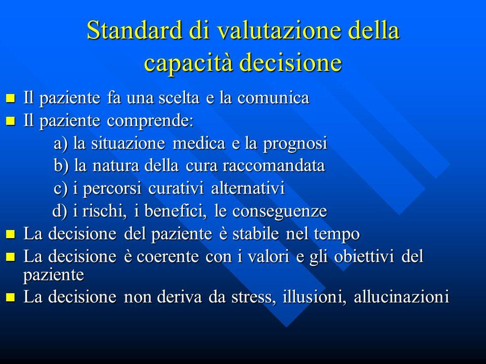 Consenso informato Elementi di accesso a)Competenza (a capire e decidere) b)Volontarietà (nel decidere) Elementi del consenso a)Decisione (in favore d