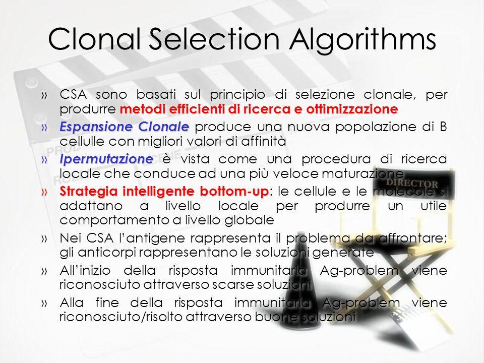 Clonal Selection Algorithms metodi efficienti di ricerca e ottimizzazione »CSA sono basati sul principio di selezione clonale, per produrre metodi eff