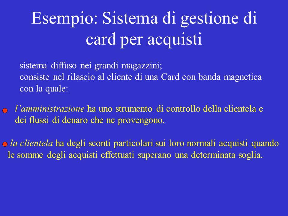 Esempio: Sistema di gestione di card per acquisti sistema diffuso nei grandi magazzini; consiste nel rilascio al cliente di una Card con banda magnetica con la quale: lamministrazione ha uno strumento di controllo della clientela e dei flussi di denaro che ne provengono.
