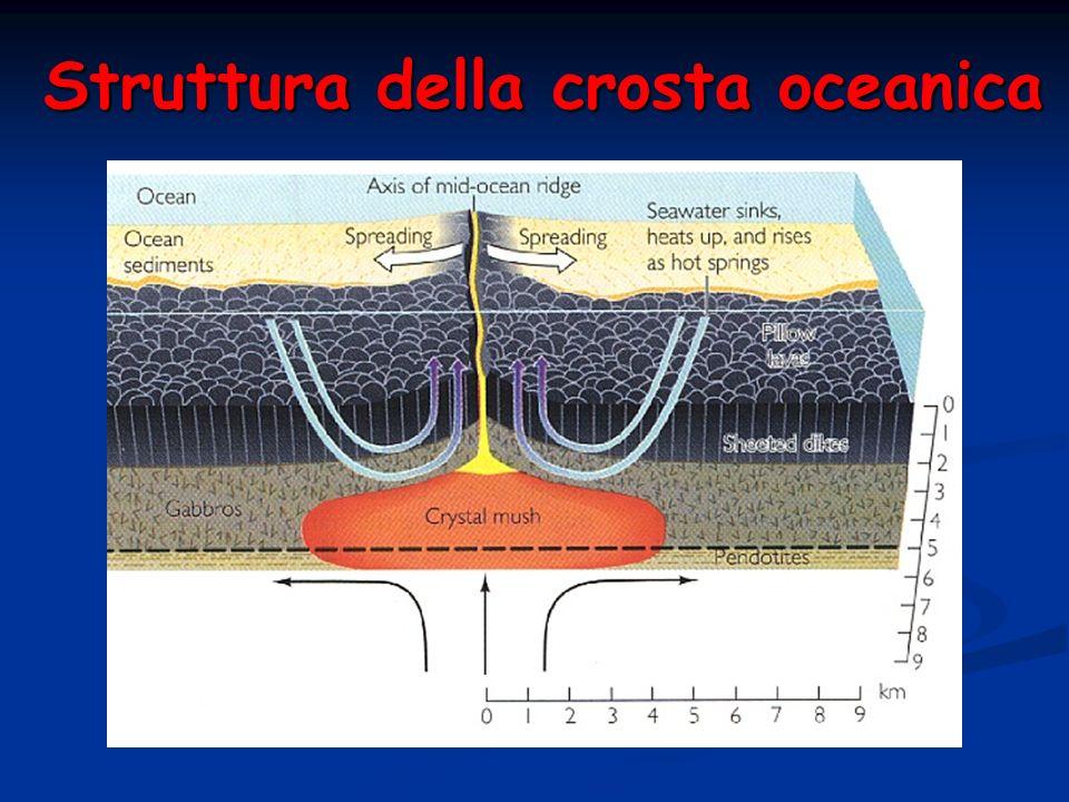 Struttura della crosta oceanica Velocità delle onde P (km/s) Rocce sialiche tipiche della crosta continentale superiore (graniti: 6 Km/s) Rocce femich