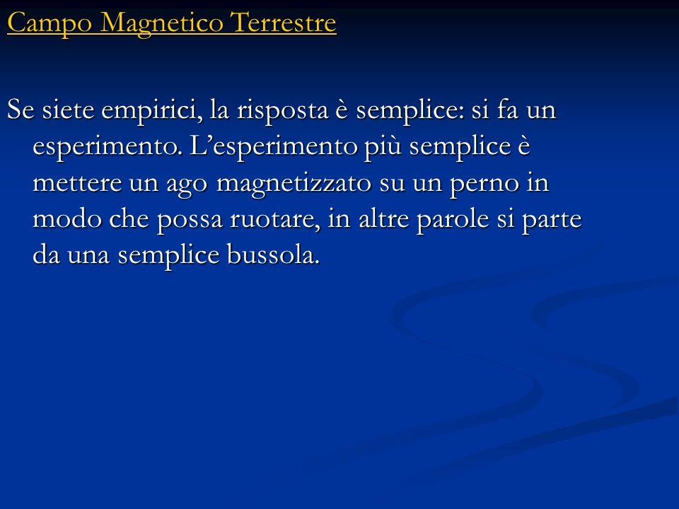 Campo Magnetico Terrestre Campo Magnetico Terrestre Per cominciare da zero, come fareste a stabilire se esiste un campo magnetico sulla Terra o su qua