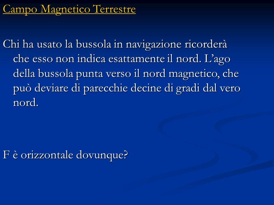 Campo Magnetico Terrestre Campo Magnetico Terrestre In assenza di campo magnetico, lago rimarrà insensibile nella posizione iniziale. In presenza di c