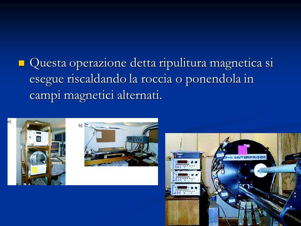 Ripulitura magnetica Ripulitura magnetica Il compito del paleomagnetista consiste nello strappare via uno o più strati di sovrimpressioni magnetiche p