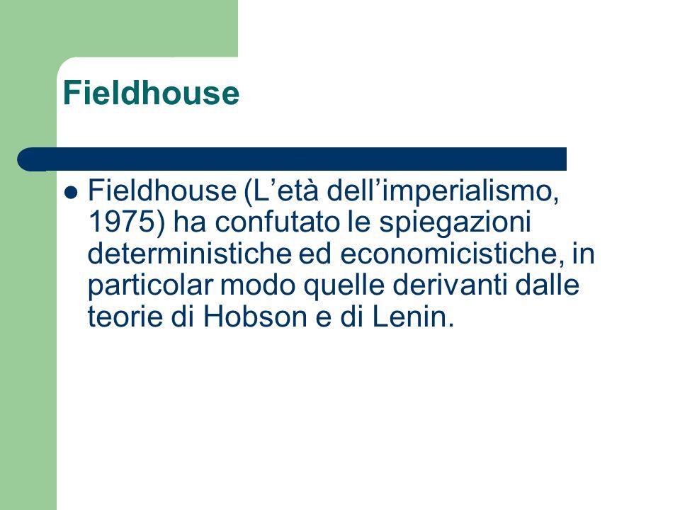 Fieldhouse Fieldhouse (Letà dellimperialismo, 1975) ha confutato le spiegazioni deterministiche ed economicistiche, in particolar modo quelle derivant