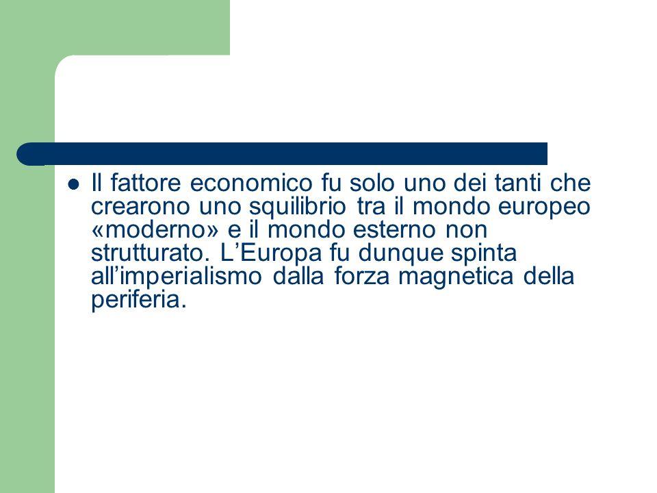 Il fattore economico fu solo uno dei tanti che crearono uno squilibrio tra il mondo europeo «moderno» e il mondo esterno non strutturato. LEuropa fu d