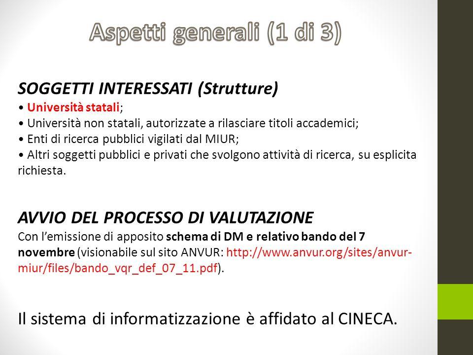 SOGGETTI INTERESSATI (Strutture) Università statali; Università non statali, autorizzate a rilasciare titoli accademici; Enti di ricerca pubblici vigi