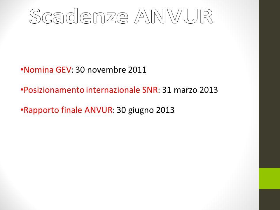 Nomina GEV: 30 novembre 2011 Posizionamento internazionale SNR: 31 marzo 2013 Rapporto finale ANVUR: 30 giugno 2013