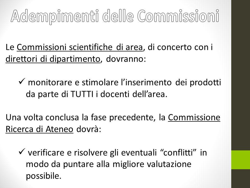 Le Commissioni scientifiche di area, di concerto con i direttori di dipartimento, dovranno: monitorare e stimolare linserimento dei prodotti da parte di TUTTI i docenti dellarea.