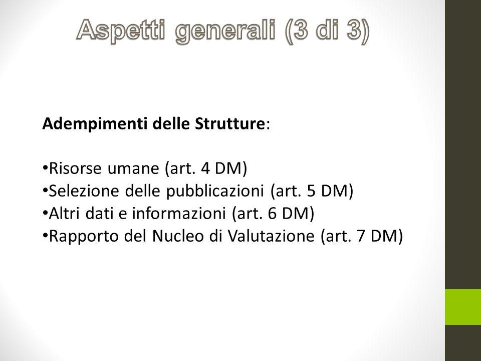 Adempimenti delle Strutture: Risorse umane (art. 4 DM) Selezione delle pubblicazioni (art. 5 DM) Altri dati e informazioni (art. 6 DM) Rapporto del Nu