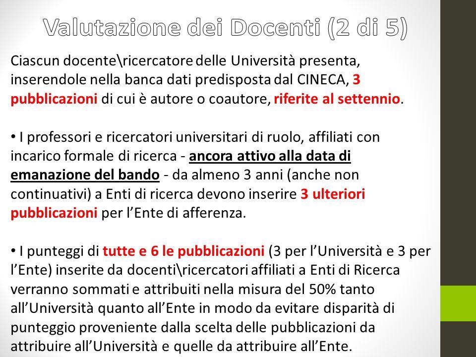 Ciascun docente\ricercatore delle Università presenta, inserendole nella banca dati predisposta dal CINECA, 3 pubblicazioni di cui è autore o coautore, riferite al settennio.