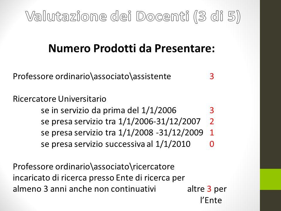 Numero Prodotti da Presentare: Professore ordinario\associato\assistente 3 Ricercatore Universitario se in servizio da prima del 1/1/2006 3 se presa s
