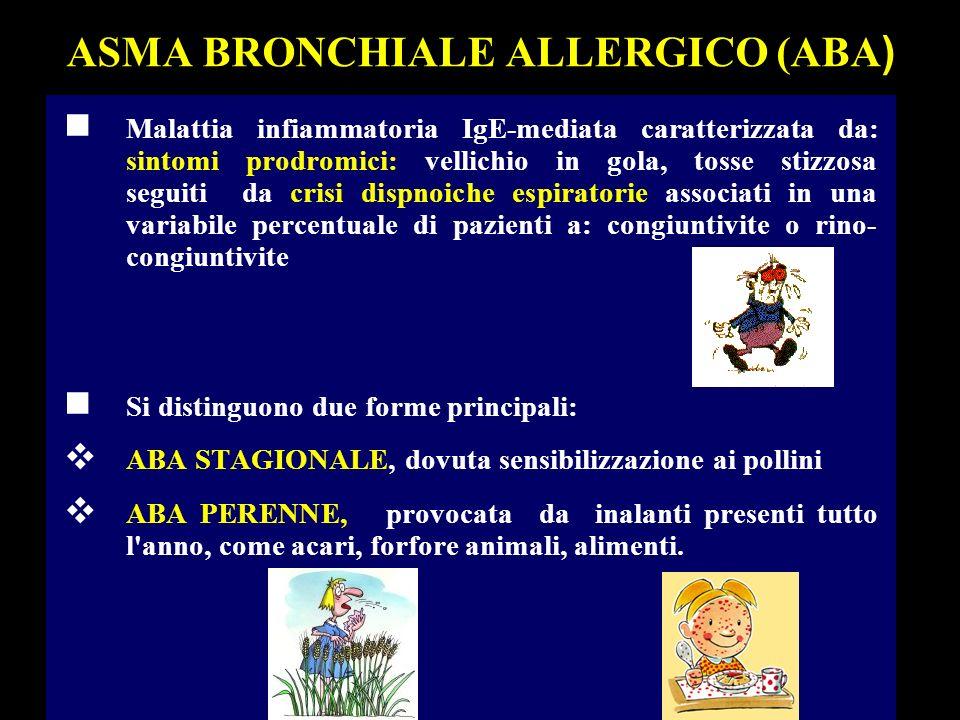 DIAGNOSI CLINICA ABA n RELATIVAMENTE FACILE PER L ASMA ALLERGICO A CARATTERE STAGIONALE (Pollinosi) n PIU COMPLESSA PER LE FORME A CARATTERE PERENNE n FATTORI SCATENANTI: Sintomi bronchiali insorgenti improvvisamente in rapporto con mutazioni climatiche (giornate soleggiate, calde e moderatamente ventose) o con diretta esposizione a fattori scatenanti (polvere ambientale, fumo, vapori) oppure in seguito ad emozioni improvvise (riso eccessivo, pianto) o ad eventi stressanti.