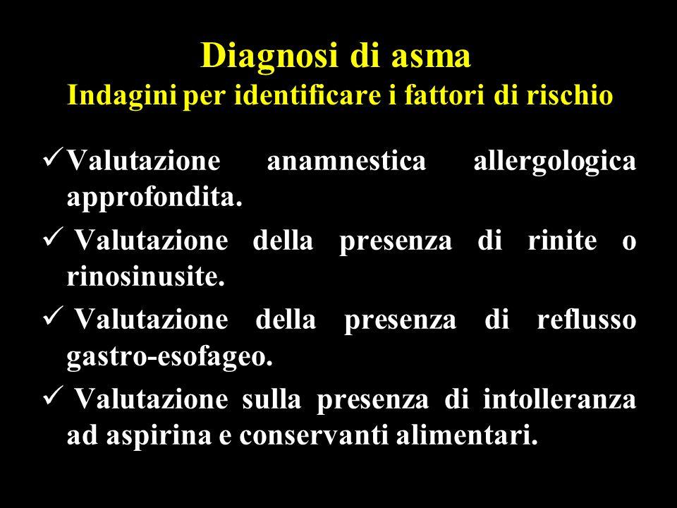Diagnosi di asma Indagini per identificare i fattori di rischio Valutazione anamnestica allergologica approfondita. Valutazione della presenza di rini