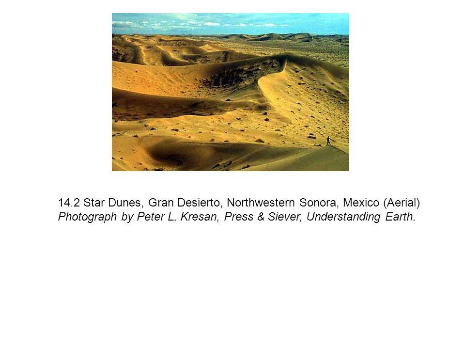 14.2 Star Dunes, Gran Desierto, Northwestern Sonora, Mexico (Aerial) Photograph by Peter L. Kresan, Press & Siever, Understanding Earth.