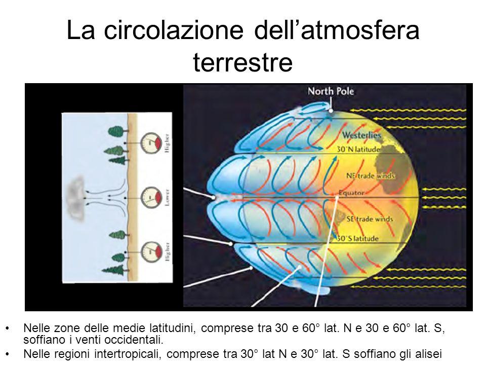 La circolazione dellatmosfera terrestre Nelle zone delle medie latitudini, comprese tra 30 e 60° lat. N e 30 e 60° lat. S, soffiano i venti occidental
