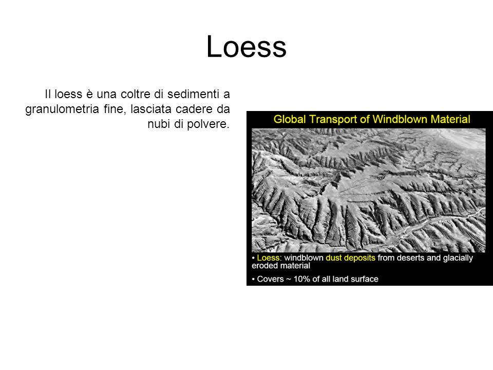 Loess Il loess è una coltre di sedimenti a granulometria fine, lasciata cadere da nubi di polvere.