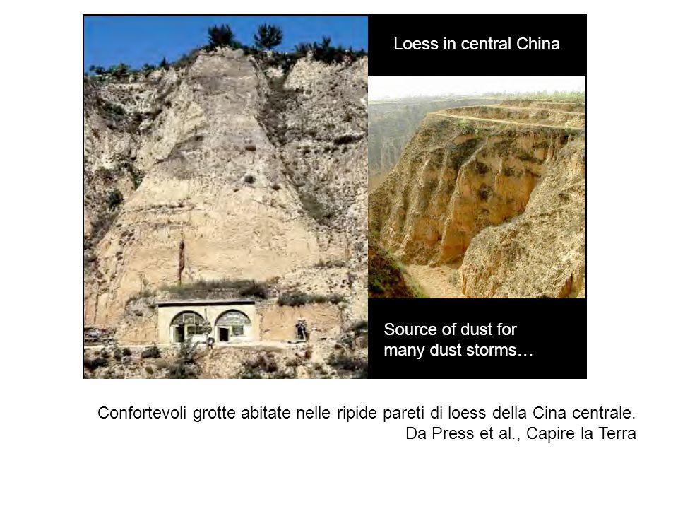 Confortevoli grotte abitate nelle ripide pareti di loess della Cina centrale. Da Press et al., Capire la Terra