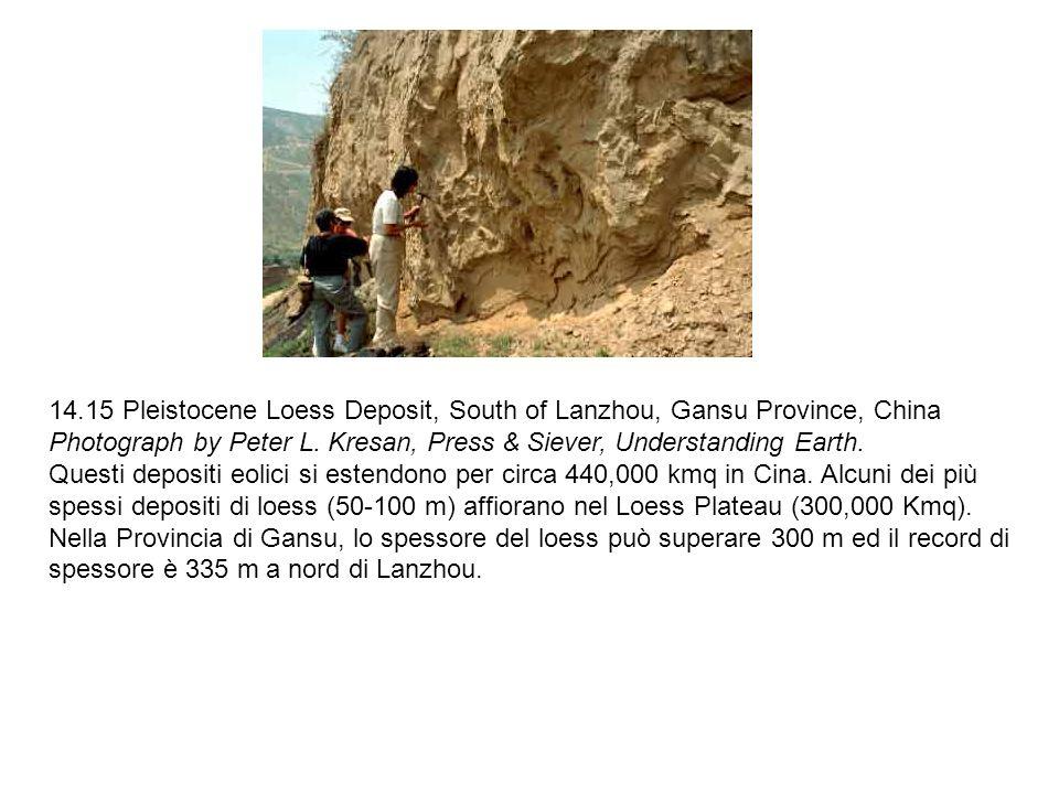 14.15 Pleistocene Loess Deposit, South of Lanzhou, Gansu Province, China Photograph by Peter L. Kresan, Press & Siever, Understanding Earth. Questi de