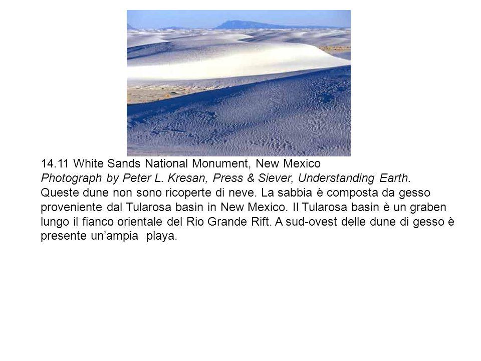 14.11 White Sands National Monument, New Mexico Photograph by Peter L. Kresan, Press & Siever, Understanding Earth. Queste dune non sono ricoperte di