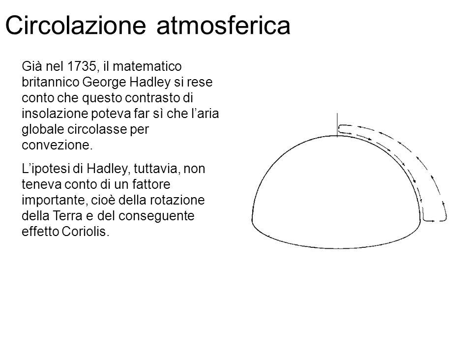 Già nel 1735, il matematico britannico George Hadley si rese conto che questo contrasto di insolazione poteva far sì che laria globale circolasse per