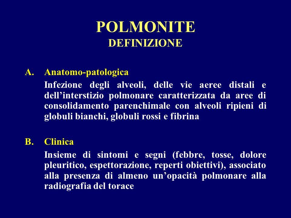 POLMONITE DEFINIZIONE A.Anatomo-patologica Infezione degli alveoli, delle vie aeree distali e dellinterstizio polmonare caratterizzata da aree di cons