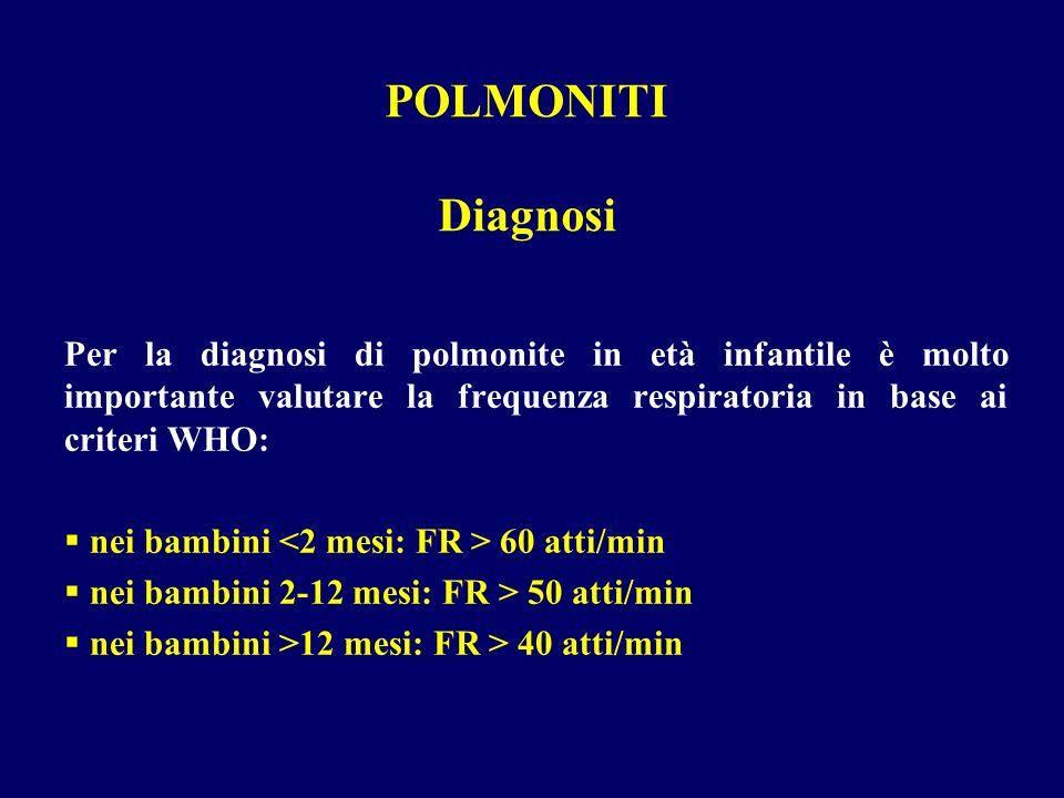 Per la diagnosi di polmonite in età infantile è molto importante valutare la frequenza respiratoria in base ai criteri WHO: nei bambini 60 atti/min ne