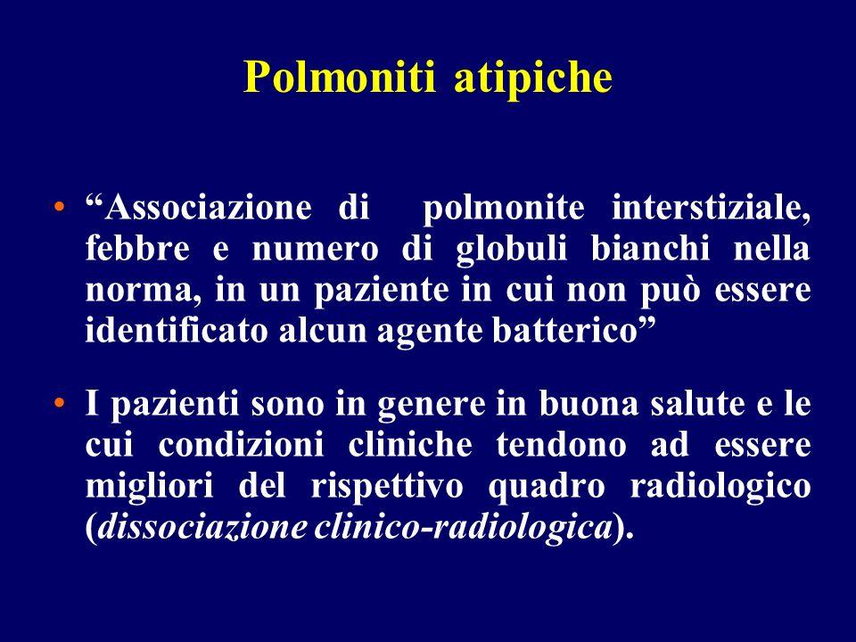 Polmoniti atipiche Associazione di polmonite interstiziale, febbre e numero di globuli bianchi nella norma, in un paziente in cui non può essere ident