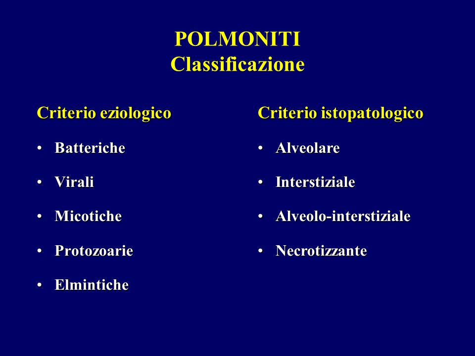 POLMONITI Classificazione Criterio eziologico BattericheBatteriche ViraliVirali MicoticheMicotiche ProtozoarieProtozoarie ElminticheElmintiche Criteri
