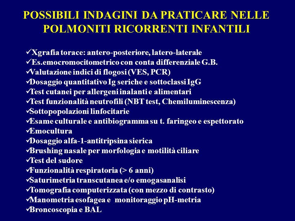 POSSIBILI INDAGINI DA PRATICARE NELLE POLMONITI RICORRENTI INFANTILI Xgrafia torace: antero-posteriore, latero-laterale Es.emocromocitometrico con con