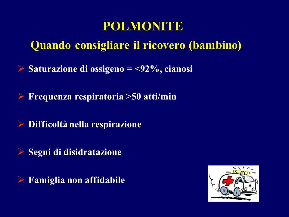 POLMONITE Saturazione di ossigeno = <92%, cianosi Frequenza respiratoria >50 atti/min Difficoltà nella respirazione Segni di disidratazione Famiglia n