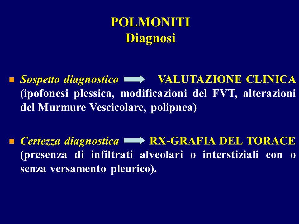 Sospetto diagnostico VALUTAZIONE CLINICA (ipofonesi plessica, modificazioni del FVT, alterazioni del Murmure Vescicolare, polipnea) Certezza diagnosti