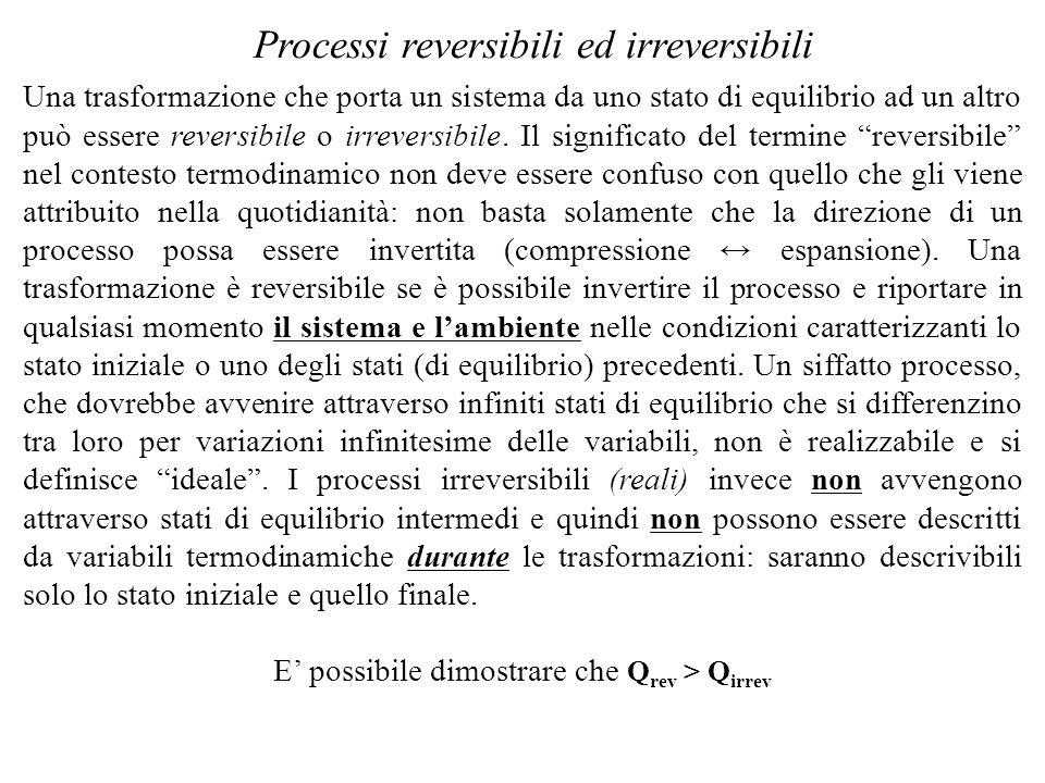 Una trasformazione che porta un sistema da uno stato di equilibrio ad un altro può essere reversibile o irreversibile. Il significato del termine reve