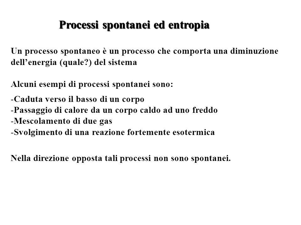 Un processo spontaneo è un processo che comporta una diminuzione dellenergia (quale?) del sistema Alcuni esempi di processi spontanei sono: -Caduta ve