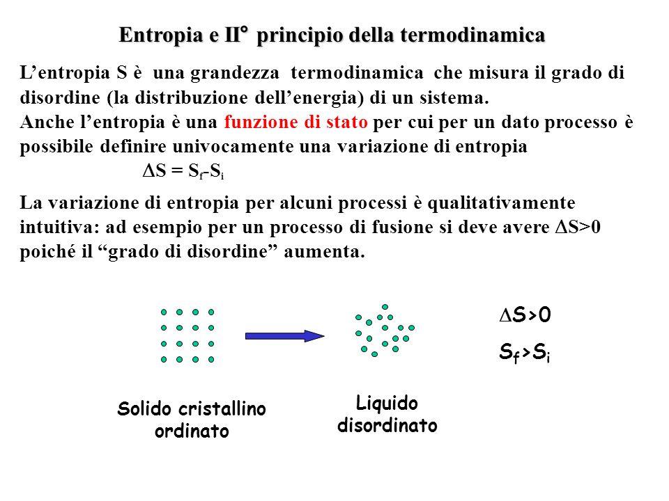 Entropia e II° principio della termodinamica Lentropia S è una grandezza termodinamica che misura il grado di disordine (la distribuzione dellenergia)