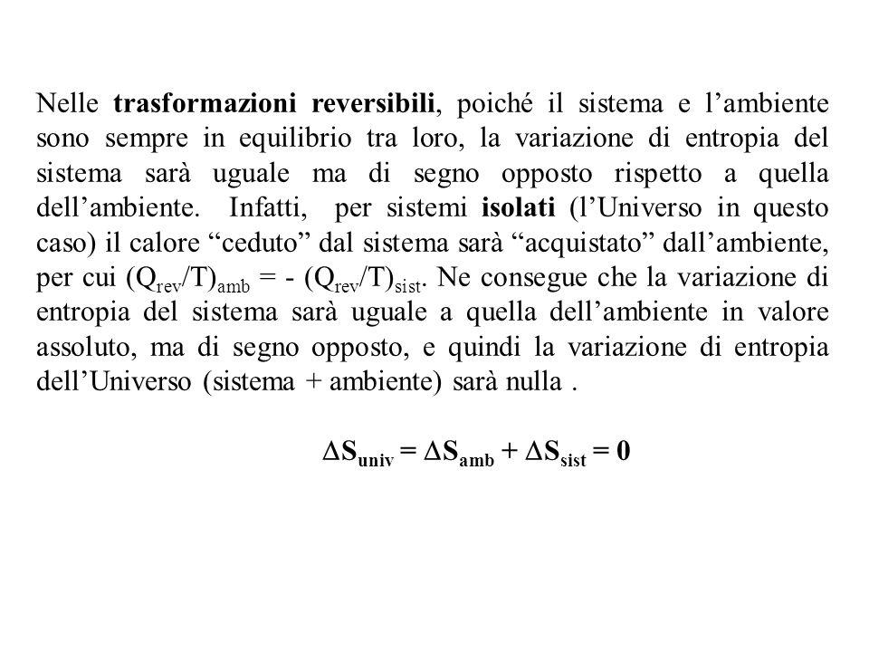 Nelle trasformazioni reversibili, poiché il sistema e lambiente sono sempre in equilibrio tra loro, la variazione di entropia del sistema sarà uguale