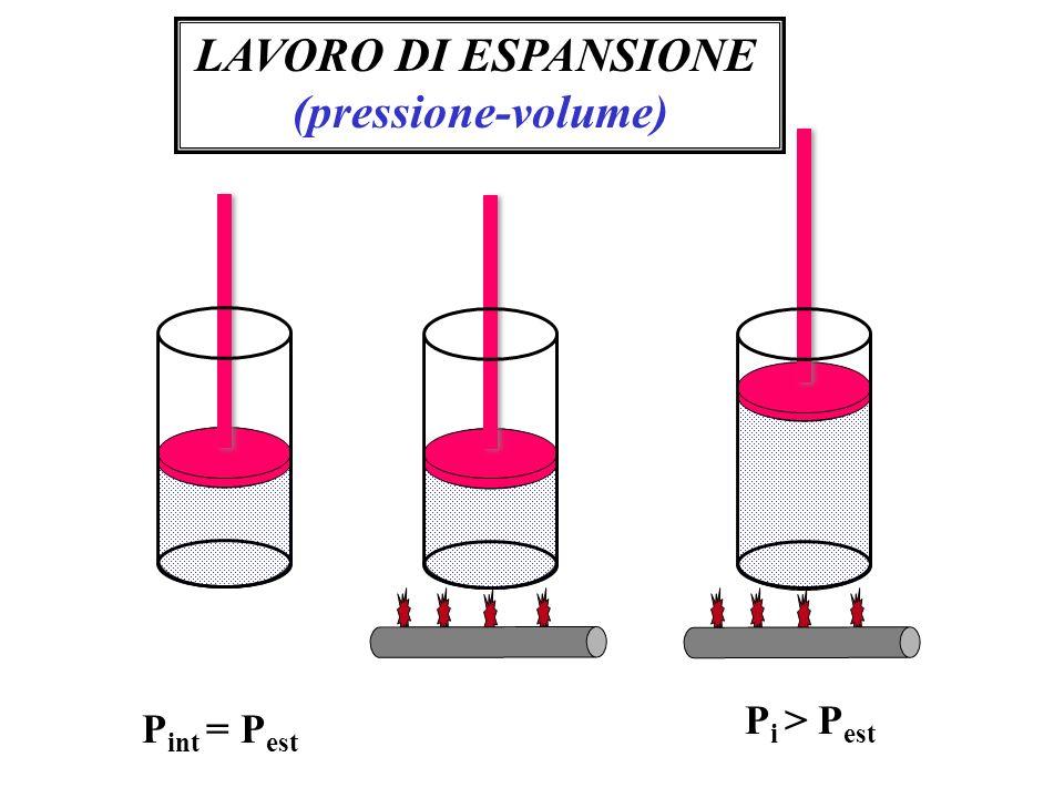 LAVORO DI ESPANSIONE (pressione-volume) P int = P est P i > P est
