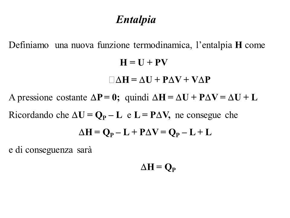 Definiamo una nuova funzione termodinamica, lentalpia H come H = U + PV H = U + P V + V P A pressione costante P = 0; quindi H = U + P V = U + L Ricor