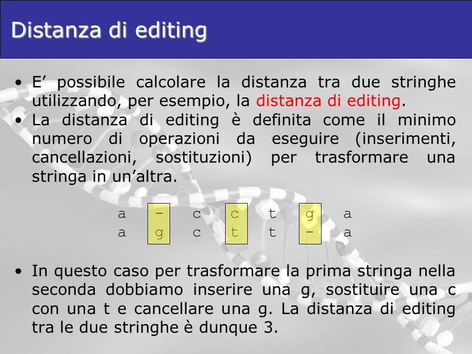 Distanza di editing E possibile calcolare la distanza tra due stringhe utilizzando, per esempio, la distanza di editing. La distanza di editing è defi