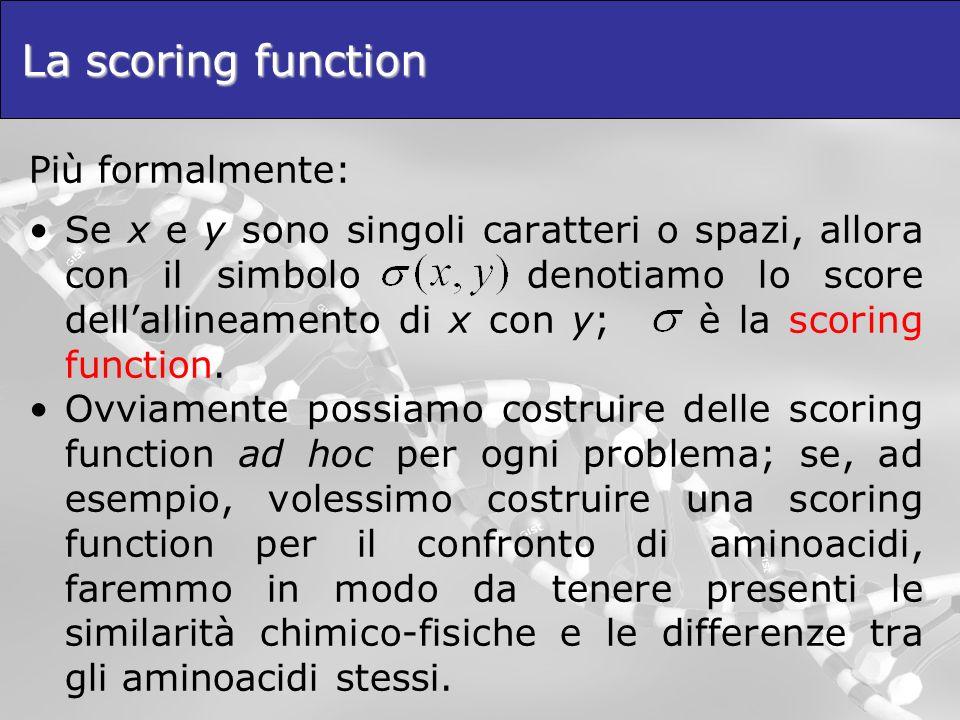 La scoring function Più formalmente: Se x e y sono singoli caratteri o spazi, allora con il simbolo denotiamo lo score dellallineamento di x con y; è