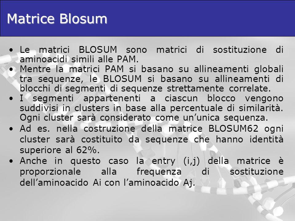 Matrice Blosum Le matrici BLOSUM sono matrici di sostituzione di aminoacidi simili alle PAM. Mentre la matrici PAM si basano su allineamenti globali t