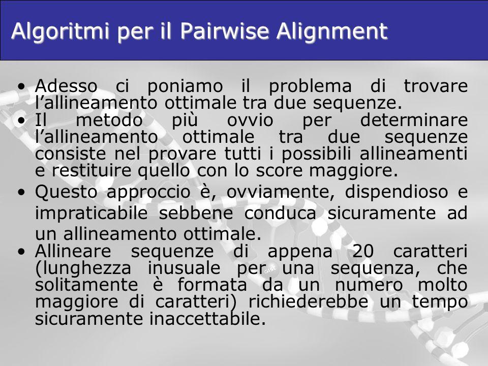 Algoritmi per il Pairwise Alignment Adesso ci poniamo il problema di trovare lallineamento ottimale tra due sequenze. Il metodo più ovvio per determin