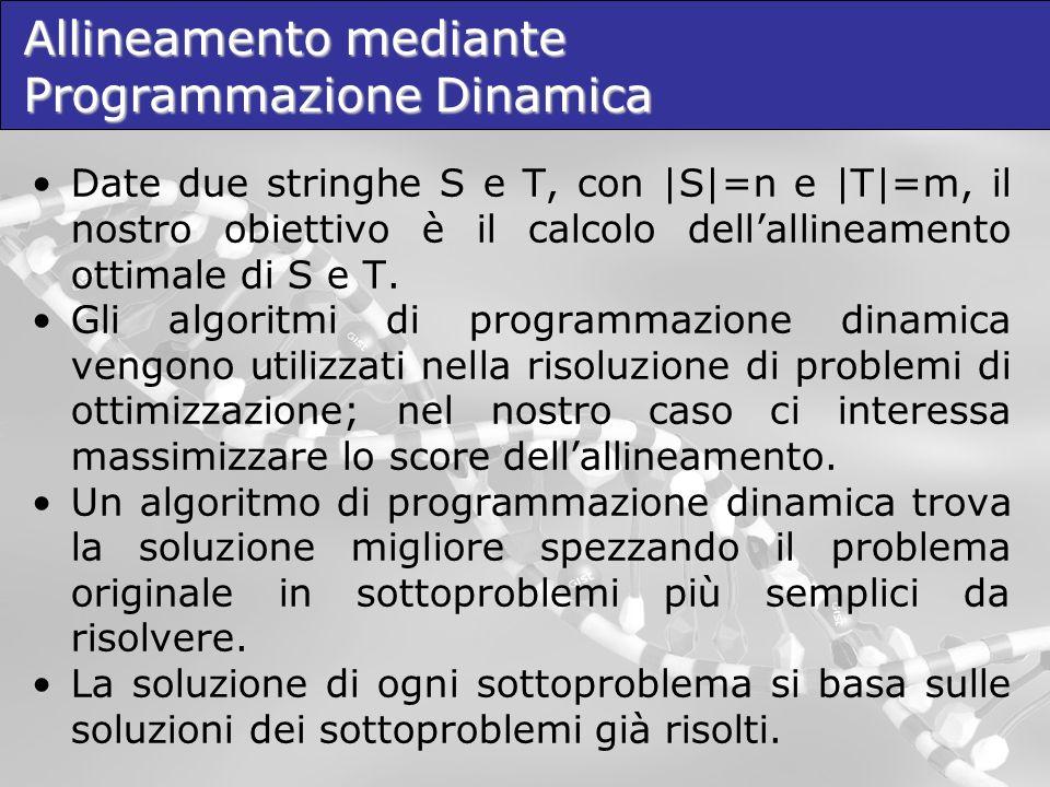 Allineamento mediante Programmazione Dinamica Date due stringhe S e T, con |S|=n e |T|=m, il nostro obiettivo è il calcolo dellallineamento ottimale d