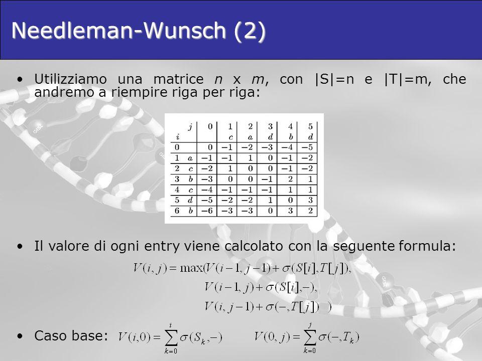 Needleman-Wunsch (2) Utilizziamo una matrice n x m, con |S|=n e |T|=m, che andremo a riempire riga per riga: Il valore di ogni entry viene calcolato c