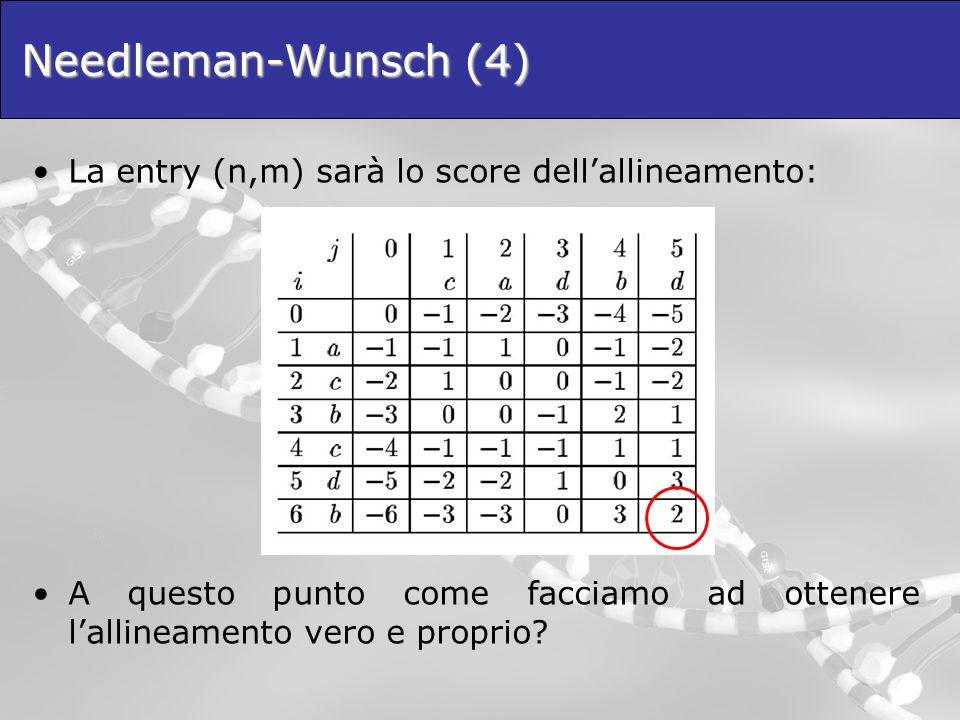 Needleman-Wunsch (4) La entry (n,m) sarà lo score dellallineamento: A questo punto come facciamo ad ottenere lallineamento vero e proprio?